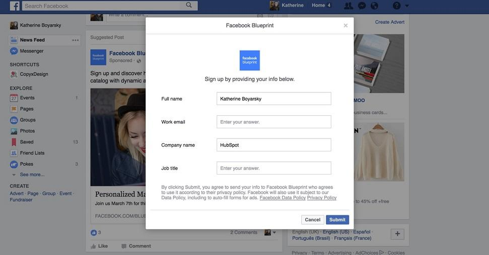 Facebook lead ad webinar registration form