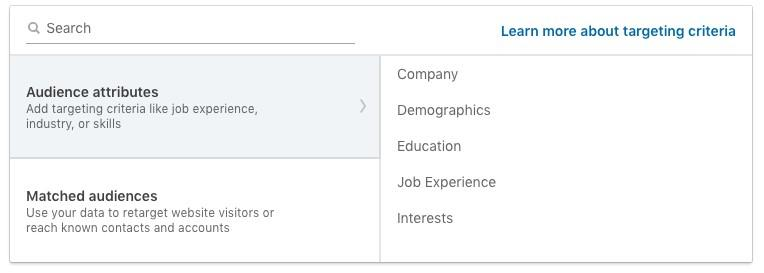 selecting an audience on LinkedIn