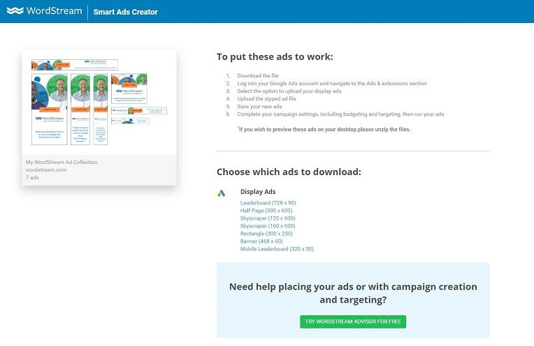 WordStream's Smart Ads Creator end page
