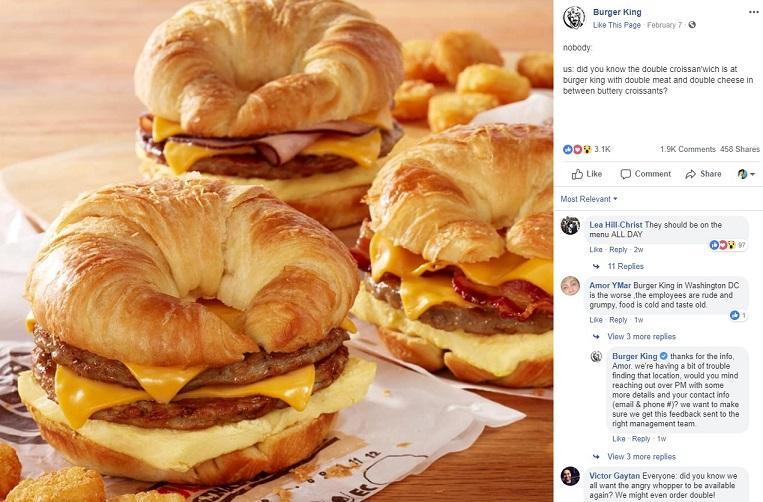 Burger King Facebook post