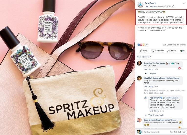 Facebook post using sensory language