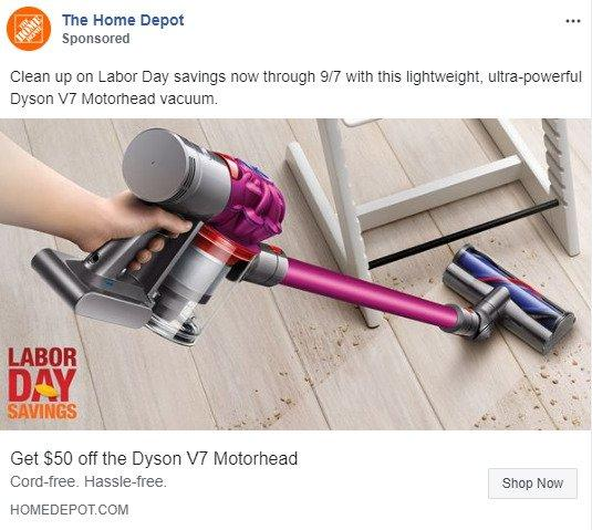 google-facebook-campaign-structure-home-depot-news-feed-ad