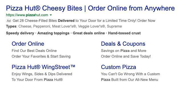 Pizza Hut search ad