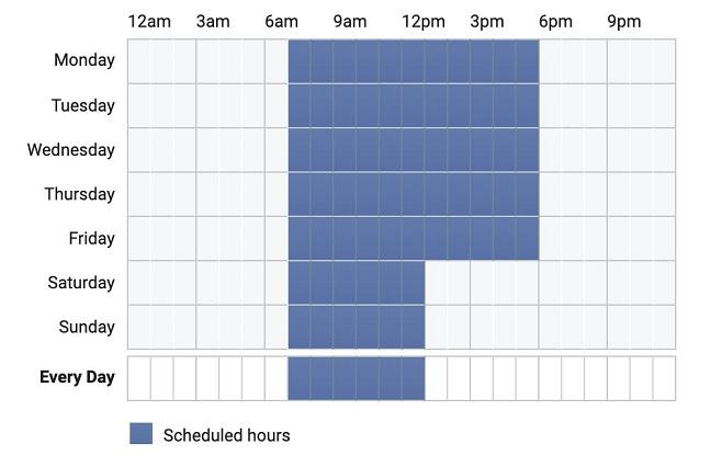 Facebook ads time selection for dayparting