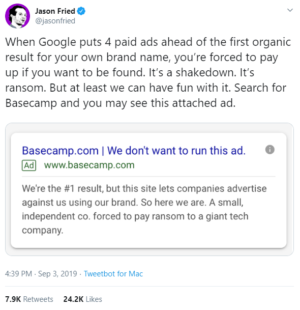 Is Google's Competitive Ad Policy a 'Shakedown'?