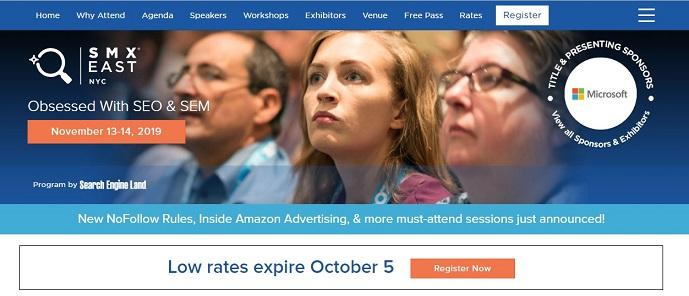 SMX east event landing page example