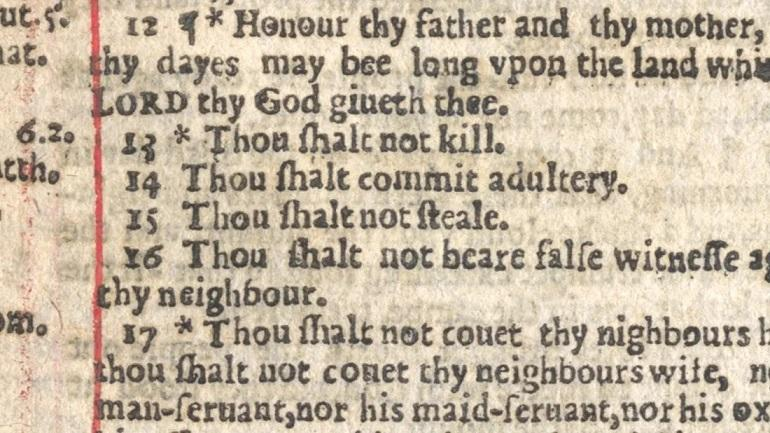 """picture of Bible page with """"Thou shalt commit adultery"""""""