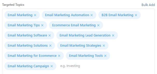 Quora marketing's topic targeting options