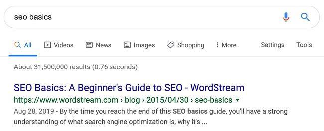 example of SEO basics keyword