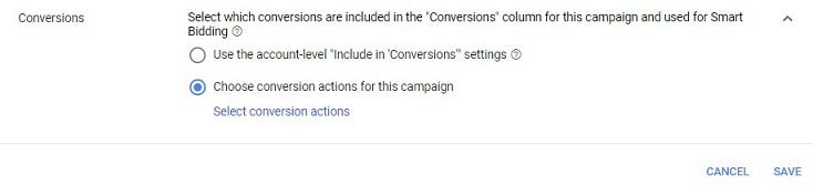 campaign-level conversions option