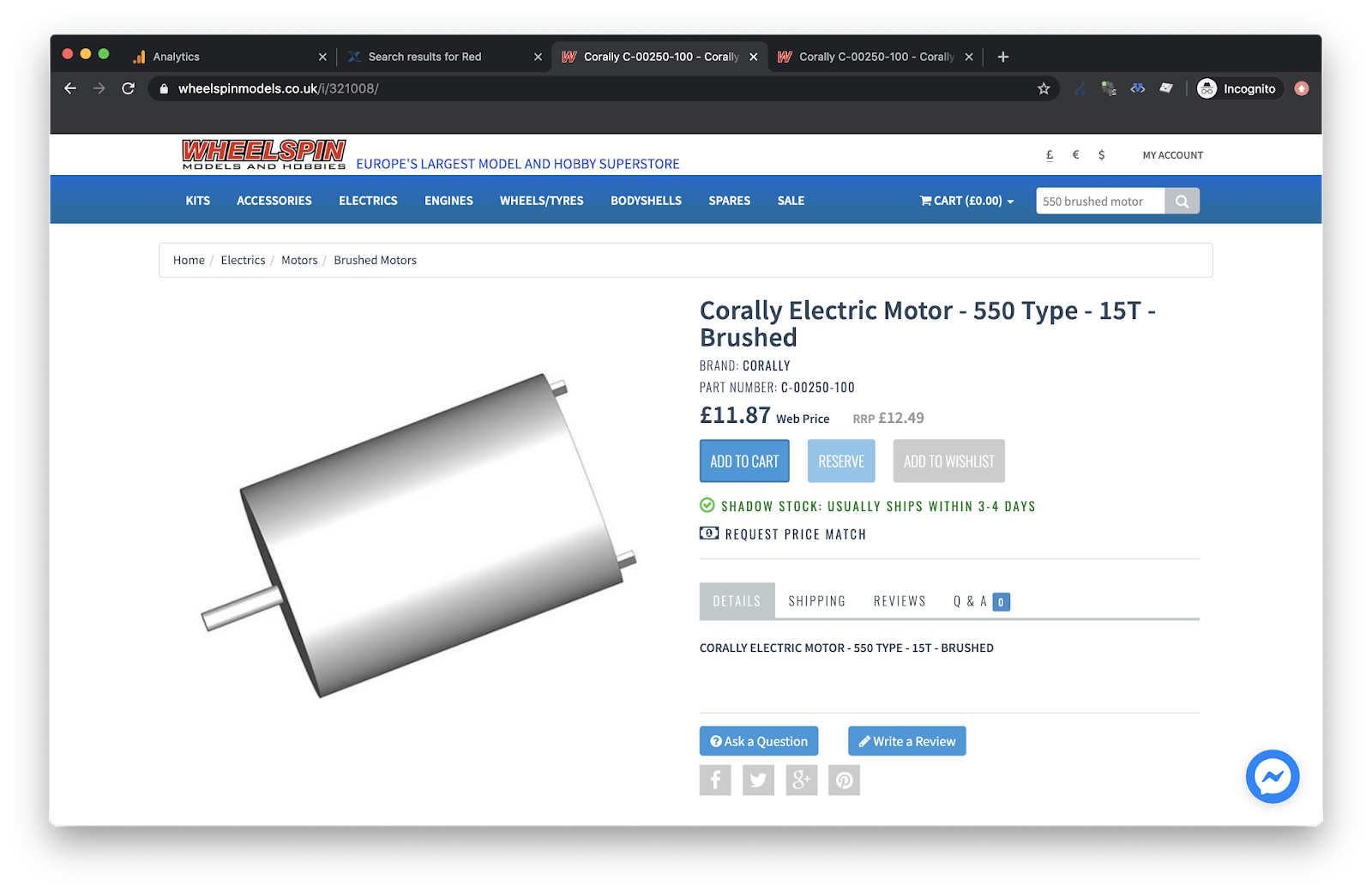 A generic brand motor is in stock