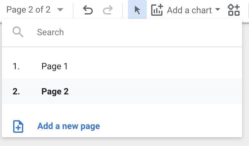 Google Data Studio page options
