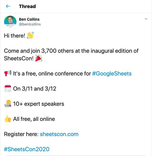 example tweet promoting a virtual event