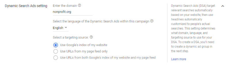 Google ads grants dynamic search ad settings