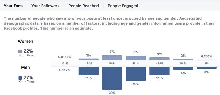Facebook Insights fan demographics