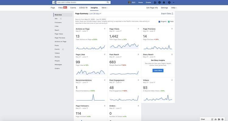 Facebook Insights metrics view