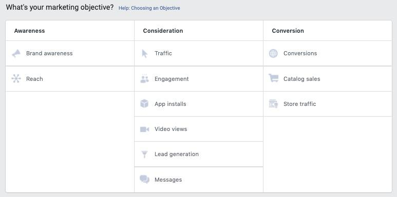 Facebook video marketing campaign objective options