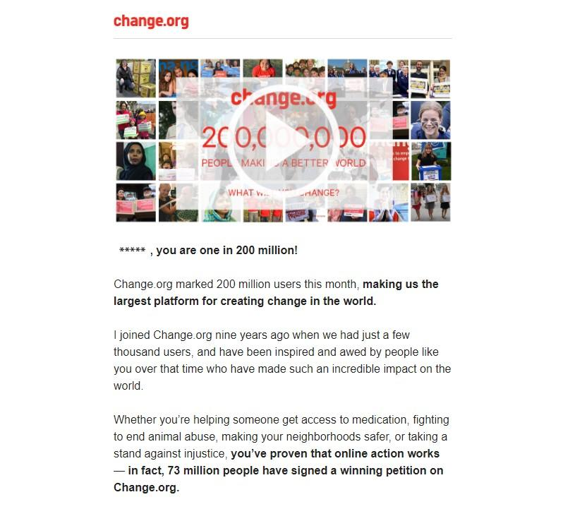change.org personalized video email example