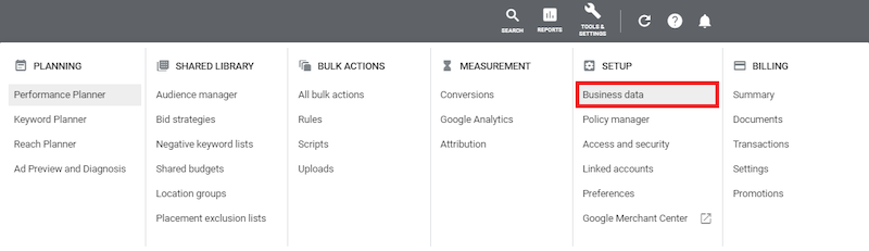 how to set up dynamic display ads business data location