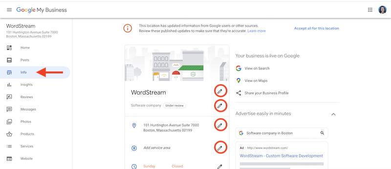 how to edit and update your google business listing info