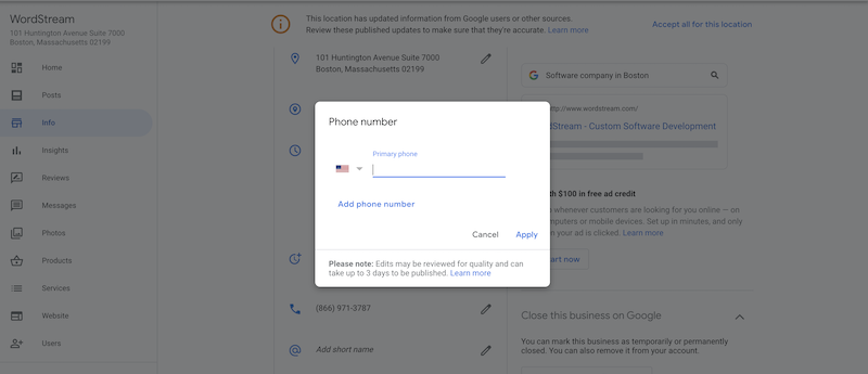 how to edit and update your google business listing phone