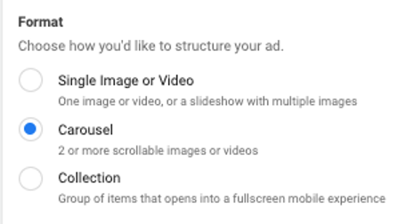 facebook dynamic product ads ad formats