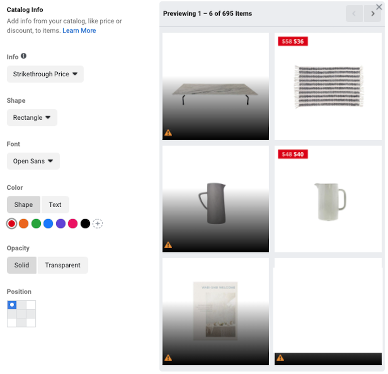 facebook dynamic product ads catalogue info