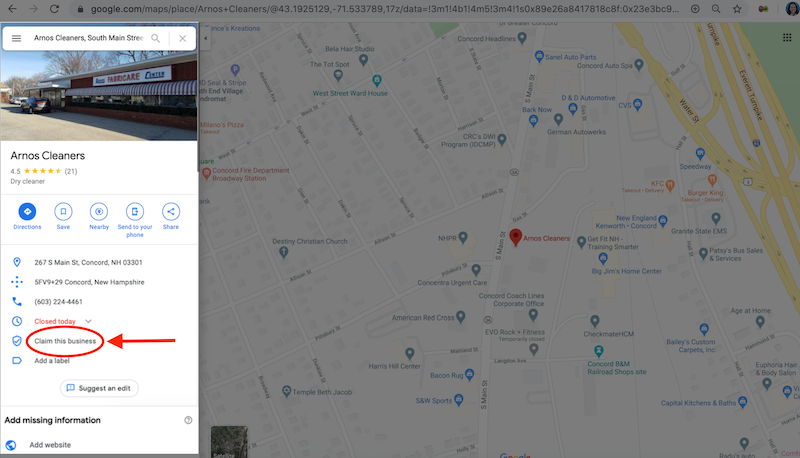 how to create and verify your google my business account own this business arnos cleaners claim through maps