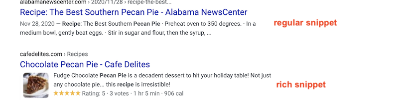 stand out from competitors on google regular snippet vs rich snippet