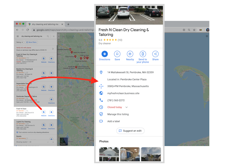what is google my business business profile in maps fresh n clean dry cleaning
