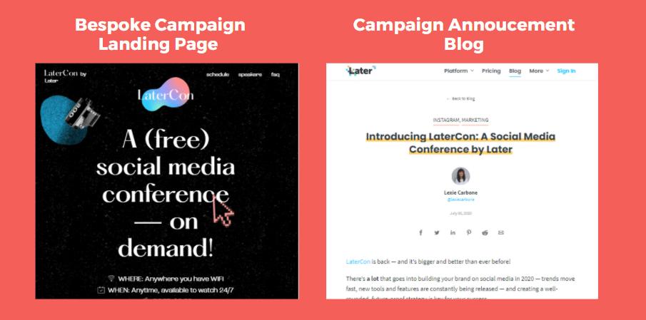 Bespoke campaign landing page vs. campaign announcement blog.