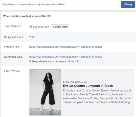 Facebook Sharing Debugger tool example.