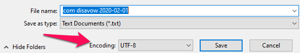Example save for disavow file in correct format.