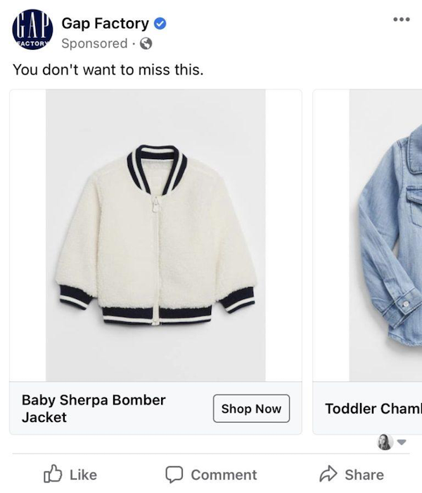 facebook dynamic ads gap factory