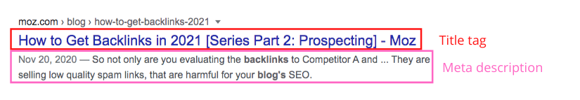 Screenshot example of title tag and meta description as they appear in Google's search results.