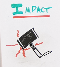 Hand drawing of a hammer under the word