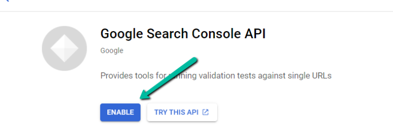 Click Enable in GSC API