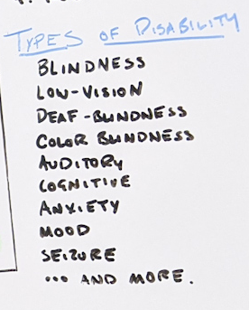 List of examples of disabilities.
