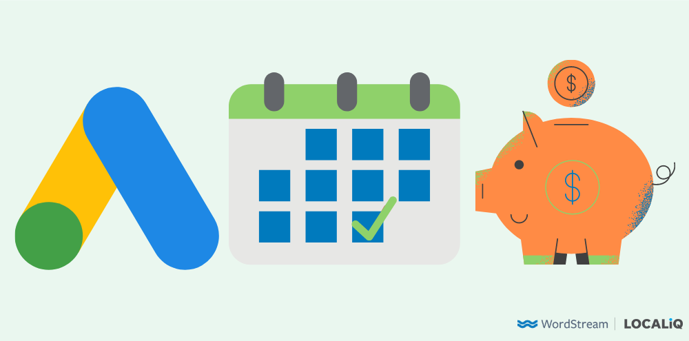 google ads monthly spend limits google ads logo with calendar and piggy bank