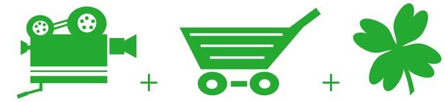 Clip art of a video camera plus a shopping cart plus a four leaf clover.
