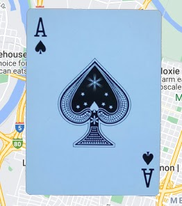 Ace playing card on Google Maps background.