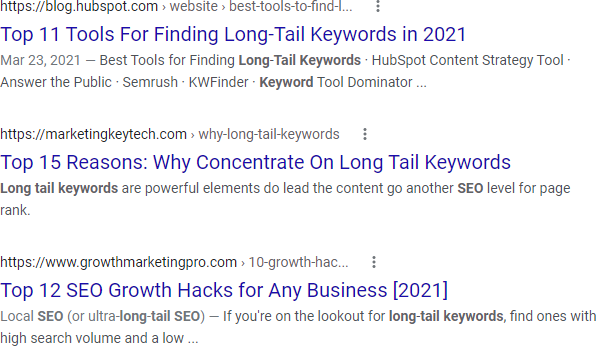 Google SERP for intitle: