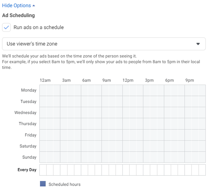 facebook ad scheduling tab