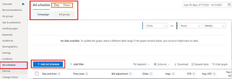 how to set up ad scheduling microsoft setup tab