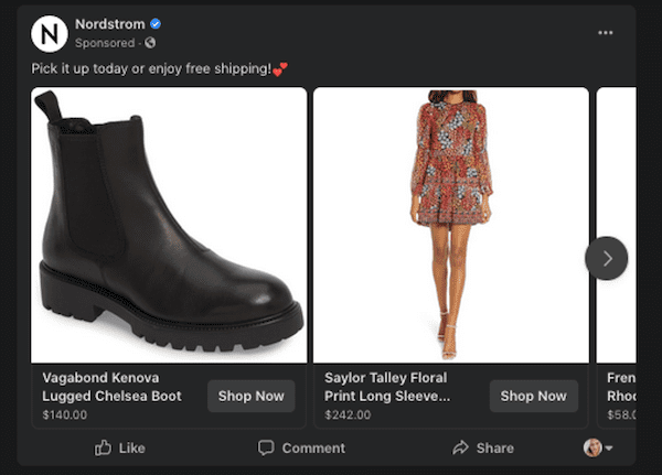 an example of a facebook dynamic ad for facebook a/b testing