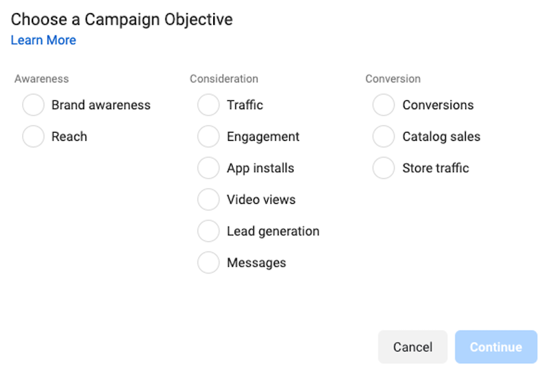 campaign objectives you can compare with facebook a/b testing