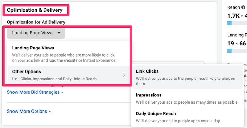 optimization and delivery facebook ab testing