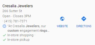 Cresalia Jewelers business listing with a post justification.
