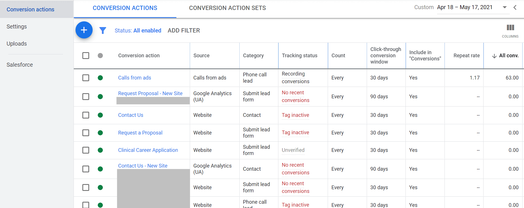 google ads conversion tracking conversion actions window