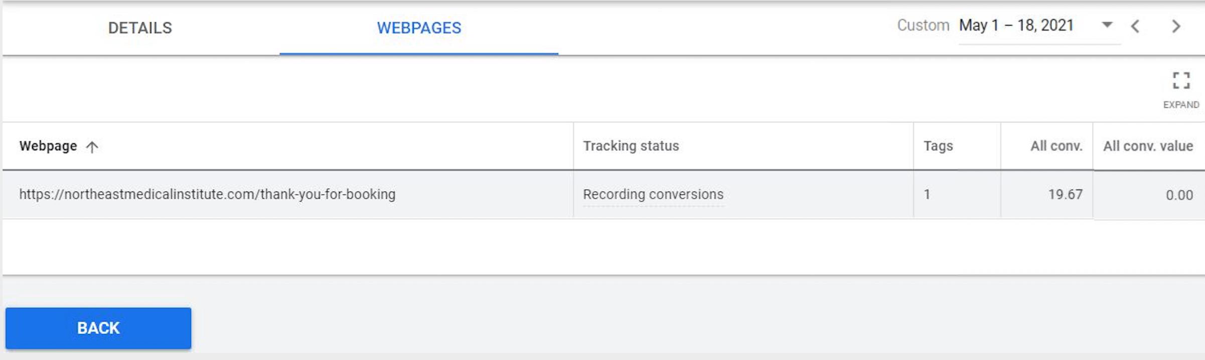 google ads conversion tracking webpage tab